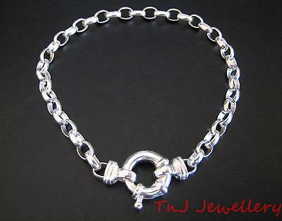 NEW Solid 925 Sterling Silver Oval Belcher  Ladies Bracelet With Euro Bolt Ring