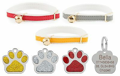 ANCOL Cat Collar Reflective Elasticated Felt Backed, With Engraved Paw ID Tag