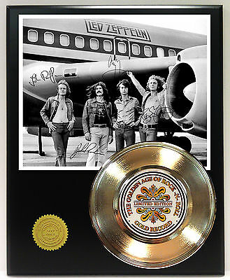 Led Zeppelin - 24k Gold Record & Reprinted Autographed Photo - USA Ships Free