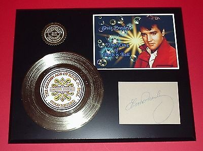 Elvis Presley - 24k Gold Record With Autograph Reprint & Photo Free USA Shipping