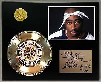 Tupac - 24k Gold Record & Reprinted Autographed Photo - Free USA Shipping
