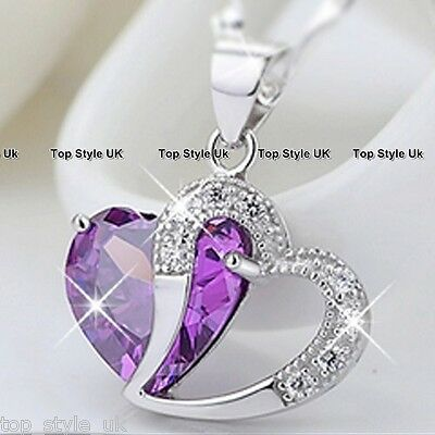 S925 Sterling Silver Amethyst Purple Heart Crystal Necklace Pendant Gift Present