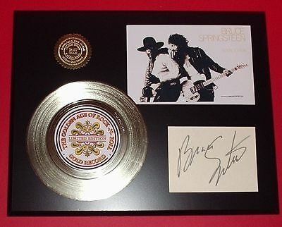 Bruce Springsteen - 24k Gold Record & Reprint Autographed Photo - USA Ships Free