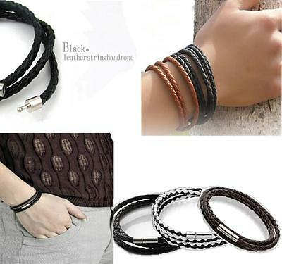 Fashion Womens Mens Black Leather Interlaced Cuff Bangle Wristband Bracelet WOAU