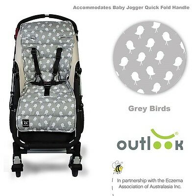 Universal Grey Birds Cotton Pram Liner Outlook Travel Comfy Free of AZO Dyes