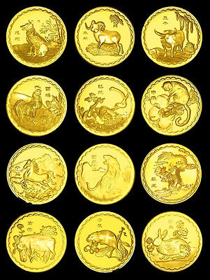 ONE 1/2oz Ounce REAL GOLD 24k 999 FINE CLAD COIN RARE Chinese Zodiac Year Troy