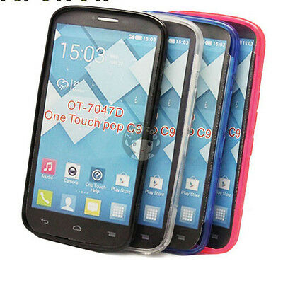 S Line Skin Cover TPU Silicone Case For Alcatel Pop C9 One Touch Pop OT 7047D