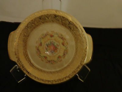"""Sebring Ivory Porcelain 8"""" Small Plate with handles, Warranted 22-K Gold, 1925"""