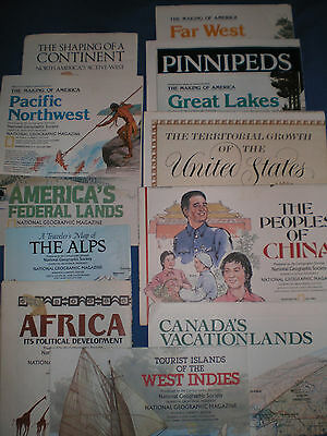 Vintage 1980's National Geographic Maps, Lot Of 12 - Us,africa,china,alps,canada