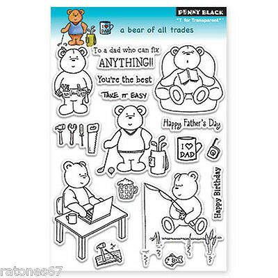 New Penny Black A BEAR OF ALL TRADES Clear Stamp Bear Father Dad Golf Fishing