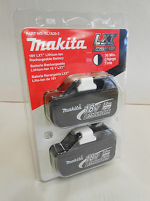 NEW in package Makita BL1830-2 18V Lithium Ion Battery 2 pack 3.0Ah BL1830