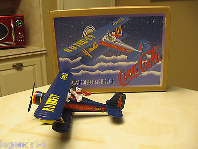 Coca Cola Die Cast Biplane Collectible Bank  With Coke Polar Bears - Nib