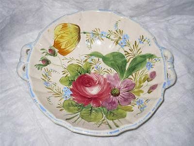 Italian Art Pottery Ceramic Majolica Hand Painted Floral lrg Serving Bowl Italy