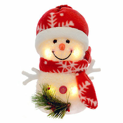 "6"" Warm White Light Up Xmas Decoration Snowman Red Snowflake Design (15cm)"