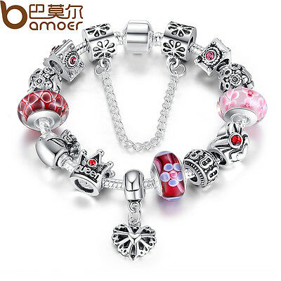 Christmas European Silver Heart Charm Bracelet DIY With Red Beads Luxury Jewelry