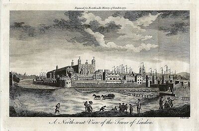 Antique engraving, A north west view of the Tower of London