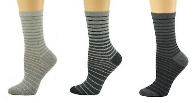 Sierra Socks Women's Striped Cotton 1 Pair or 3 Pair Pack Socks W89