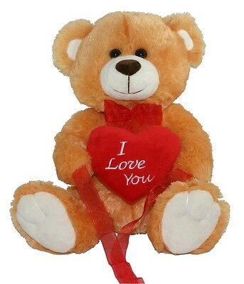 """*NEW* BROWN LOVE YOU TEDDY BEAR SOFT PLUSH VALENTINES DAY GIFT - 12"""" Sitting"""