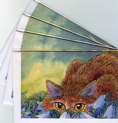 4 x cat kitten stalking harebells greeting cards bluebells wild flowers playing
