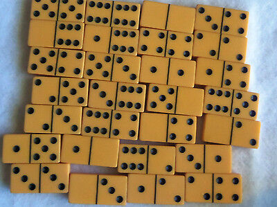 Bakelite Buttersctch Orangie Orange Dominoes Original Box Vintage 30's Nice