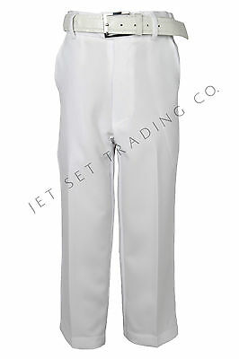 Boys White Dress Pants Flat Front Slacks with White Belt sizes 4  to 20