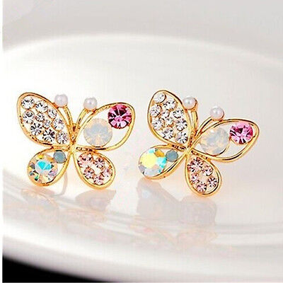 Farfalla Orecchini Donne Cristallo Strass Rhinestone Butterfly Ear Stud Earrings
