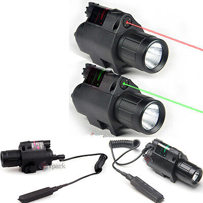 Combo CREE LED Tactical Flashlight + Green/RED Laser Sight Scope Picatinny Mount