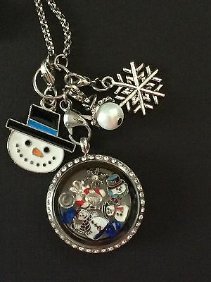 Christmas Snowman Floating Memory Locket Necklace Snowman Necklace Free Shipping