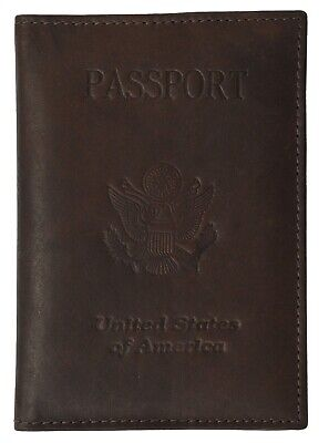 NEW BROWN Leather Embossed US PASSPORT COVER Organizer Travel Wallet ID Holder