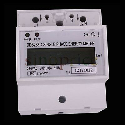 AC 230V 100A LCD DIN-rail Single Phase Kilowatt Hour kWh Electric Energy Meter