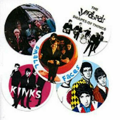 5 60's POP BADGES. SMALL FACES, KINKS, WHO, YARDBIRDS, Mod, psychedelia.