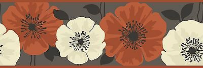 Fine Decor - FDB05438 - Poppie Floral Border - Chocolate / Orange / Cream
