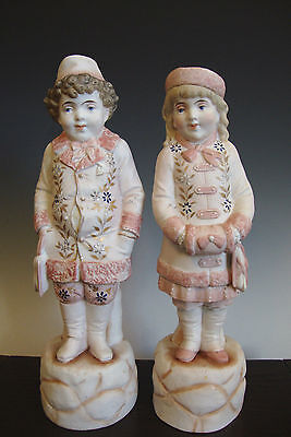 Pair of Bisque Figurines # 5331 *Let's go Ice Skating* Pale pink Germany (?)