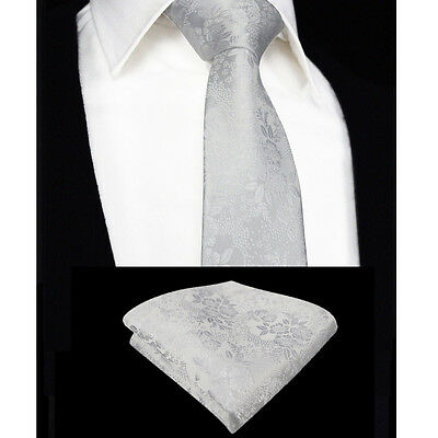 Mens Tie & Handkerchief Pure White Set - Silk Floral Pocket Square Napkin Hanky
