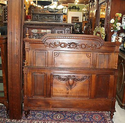 Beautiful French Antique Louis XVI Carved Solid Oak Full / Queen Size Bed.