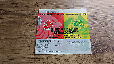 Great Britain v Australia 1992 World Cup Final Used Rugby League Ticket