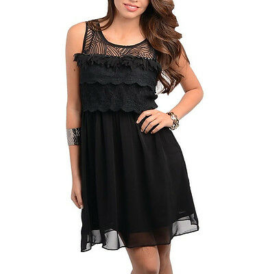 Women Dress Lace Black floral cut holiday clubwear party