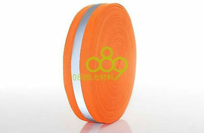 """1/"""" Reflective Orange Gray Tape Sew On Trim Fabric Material 6M = 20 Foot New"""