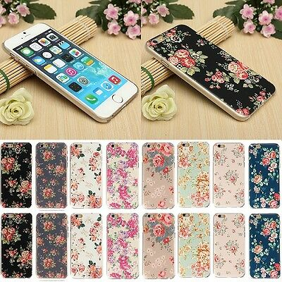 "Flower Clear PC Matte Hard Back Case Cover for Apple 4.7"" iPhone 6 5.5"" 6 Plus"
