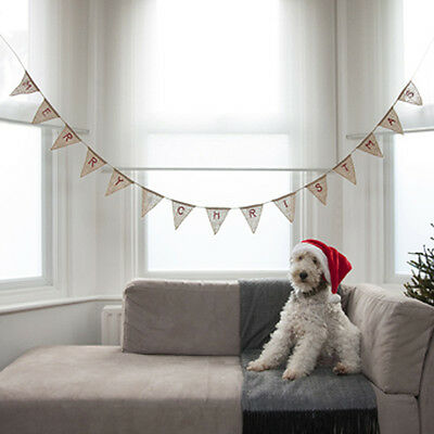 Merry Christmas Hessian Burlap Bunting Vintage Rustic Style Decoration 3.5m