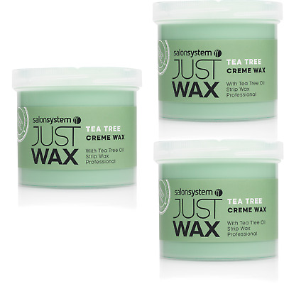 Salon System Just Wax Tea Tree Crème Hair Removal Waxing Value Pack, 3 Pots 450G
