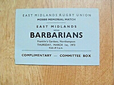 East Midlands v Barbarians 1973 Used Committee Box Rugby Ticket