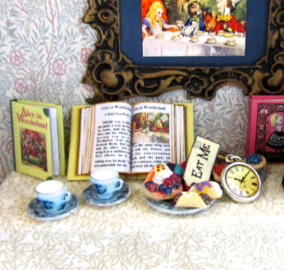 Open Book ALICE IN WONDERLAND Miniature Book Dollhouse 1:12 Scale Illustrated