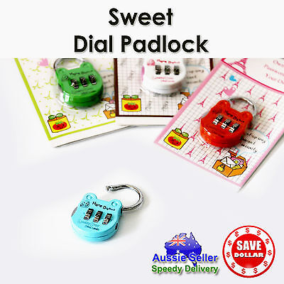 1x 3 Dial Cabinet Combination TRAVEL LUGGAGE SUITCASE PADLOCK LOCK Cute Colour