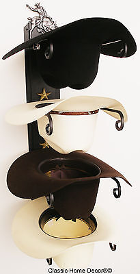 American Made Cowboy Hat Rack with Stars Powder Coated Black with Bull Rider