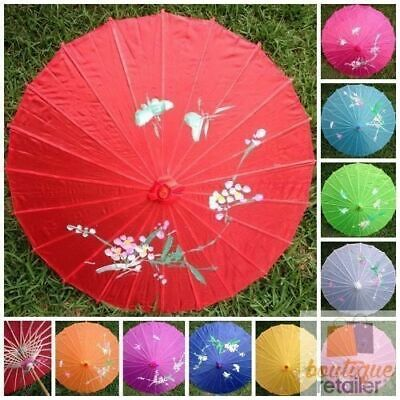 PARASOL UMBRELLA Chinese Japanese Bamboo Flower Pattern Fabric 80cm Diameter New