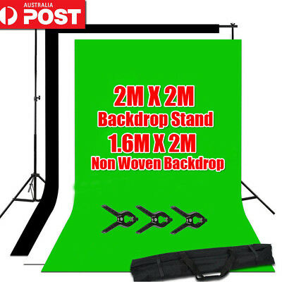 Photo Black White Chromakey Green Screen Backdrop 2x2m Stand Background Kit