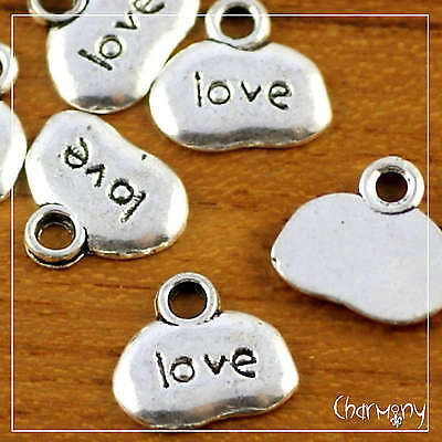 """""""Love"""" Inspirational Word charms ~PACK of 10~ tiny antique silver bead pendant"""