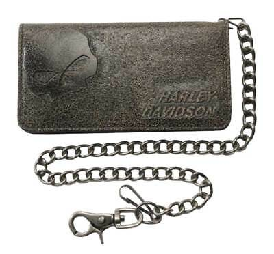 Harley-Davidson Men's Burnished Bi-Fold Skull Biker Chain Wallet BM2616L-TanBlk
