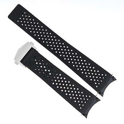 22Mm Rubber Watch Strap Band Deploy Buckle For Tag Heuer Aquaracer Black 18Rc